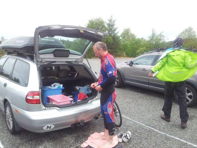 T2, på med sykkelklær.